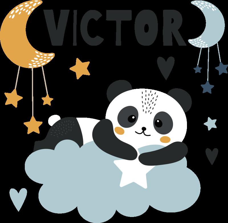 TENSTICKERS. 星は月の名前の子供たちの寝室の壁のステッカーとくま. 子供たちの寝室の装飾のためのパーソナライズ可能な名前の壁のステッカーと星は月に耐えます。適用は簡単で、どのサイズでも利用できます。