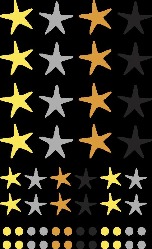 TENSTICKERS. 黄色と灰色の星北欧スタイルの子供の寝室の壁デカール. 黄色と灰色の星のノルディックスタイルのスペースデカール。さまざまなサイズのオプションがあります。