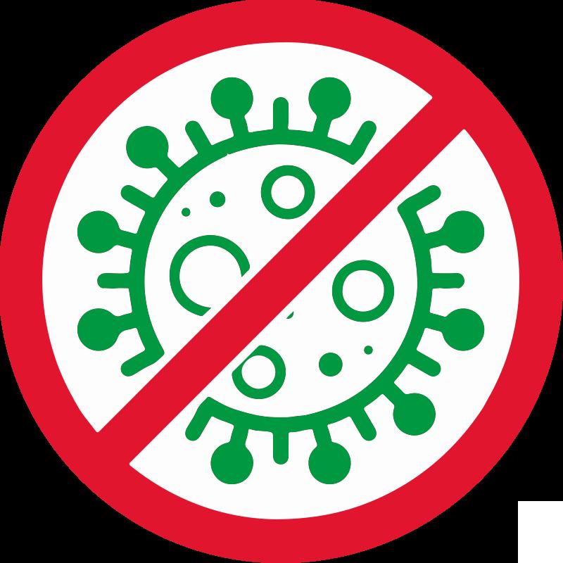 TENSTICKERS. Covidサインステッカーなし. 象徴的なウイルスの兆候とその上にキャンセルの兆候がある丸い背景に作成されたcovidの兆候ステッカーデザインはありません。適用は簡単です。