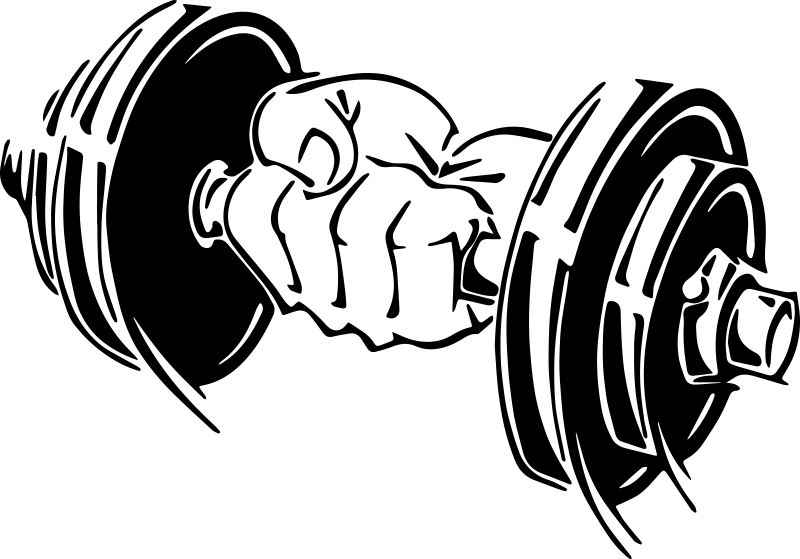 TENSTICKERS. ダンベル壁デカールでジム手. ダンベルを持っている手のデザインの装飾的なモチベーションスポーツウォールステッカー。ジムスペースに理想的なデザインで、カスタマイズ可能です。