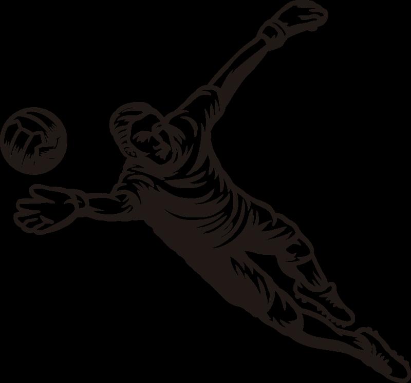 TENSTICKERS. サッカーゴールキーパーがボールを止めるウォールステッカー. フットボール選手のシルエットの壁アートステッカー装飾。それは高品質のビニールで作られ、簡単に適用でき、さまざまなサイズで利用できます。