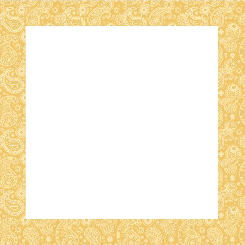 TenStickers. Spiegelsticker Arabisch paisley. Decoratieve spiegel paisley design sticker ontworpen met decoratieve paisley patroon op gele achtergrond. Het is gemakkelijk aan te brengen en zelfklevend.