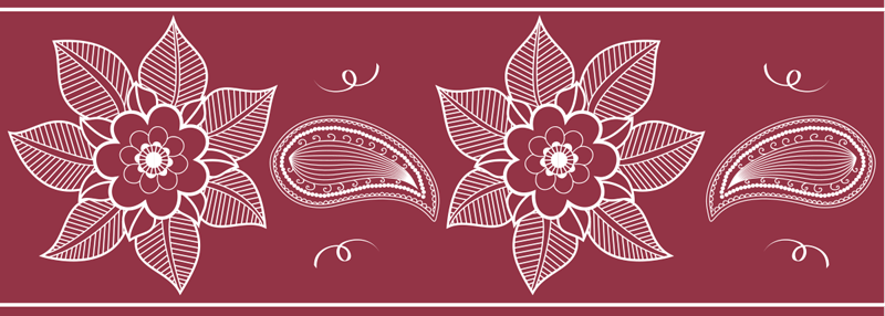 TENSTICKERS. 美しいペイズリー花の装飾壁ステッカー. ペイズリーのデザインの素晴らしい赤い背景の壁ボーダーステッカー。高品質のビニールで作られ、平らな面に簡単に貼り付けることができます。