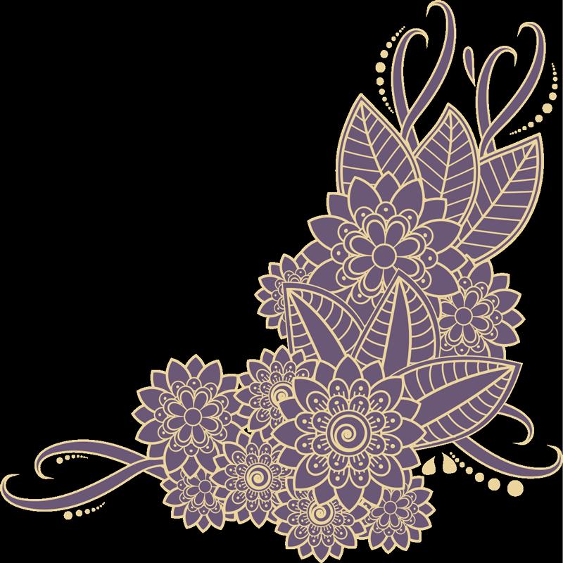 TenVinilo. Vinilo de flores estilo paisley color morado y dorado. Hermoso vinilo de flores con diseño paisley en color morado y dorado con un toque elegante. Disponible en diferentes tamaños ¡Envío a domicilio!