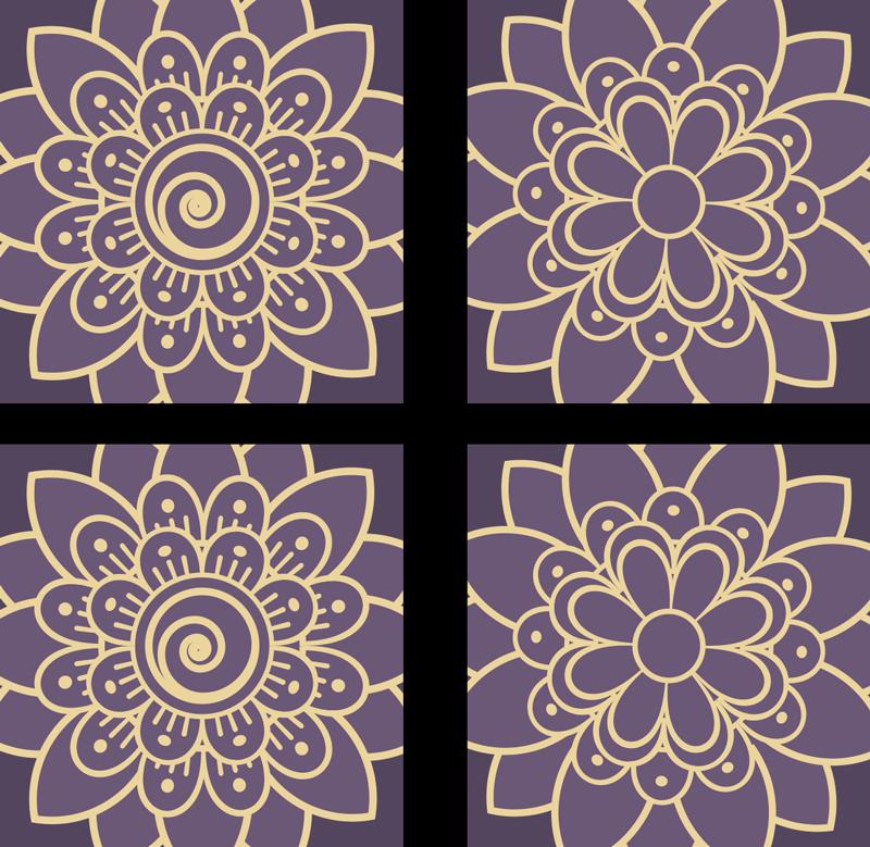 TenVinilo. Azulejos vinílicos estilo floral paisley. Azulejos adhesivos cocina de flores de temática paisley para decorar tu casa según las nuevas tendencias. Elige pack ¡Envío a domcilio!