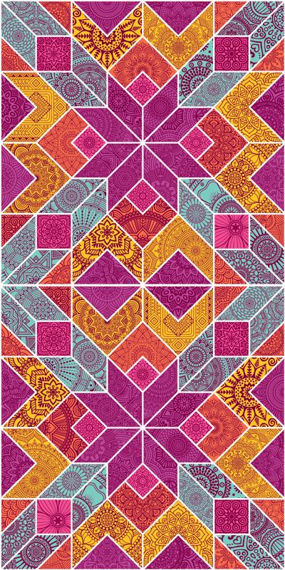 TenVinilo. Vinilo para puertas mosaico de paisley. Vinilo para puertas de mosaico con diseño multicolor con patrones de paisley. Es fácil de aplicar. Elige medidas ¡Envío a domicilio!