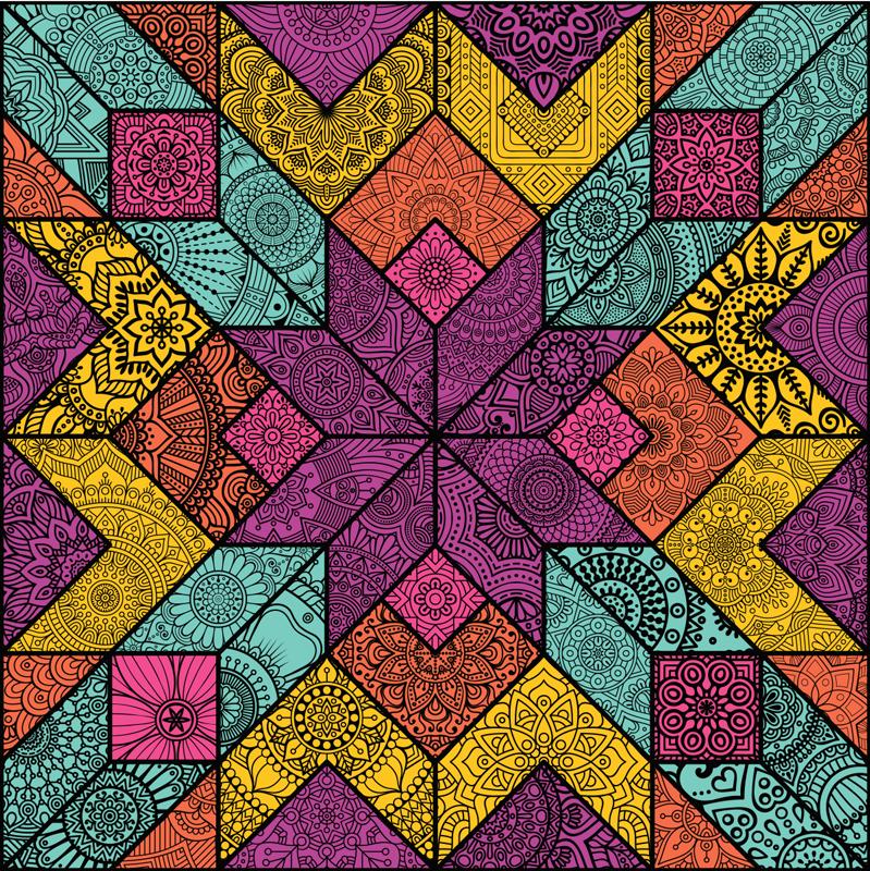 TenStickers. Stickers raam mandala mozaïek. Decoratief kleurrijke mandala raam stickers. Dit product is perfect voor elke raamruimte. Eenvoudig aan te brengen en zelfklevend.