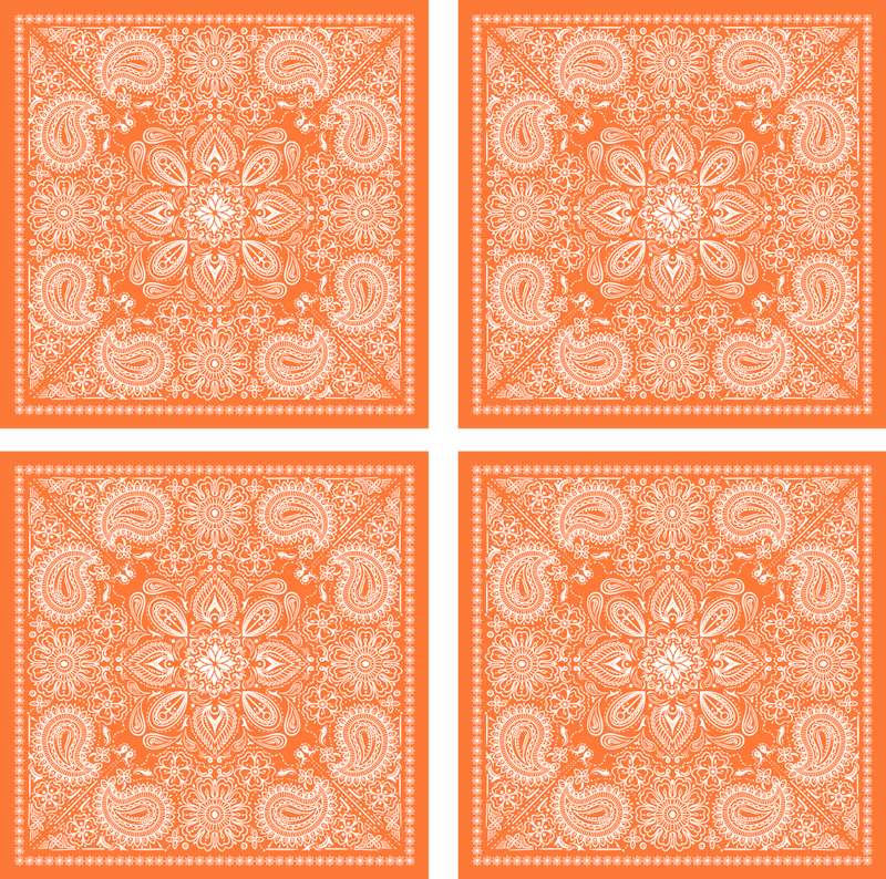 TenVinilo. Azulejos vinílicos patrón paisley cachemir. Compre nuestros azulejos adhesivos baño o cocina impermeables con diseños ornamentales de paisley en color naranja ¡Envío a domicilio!