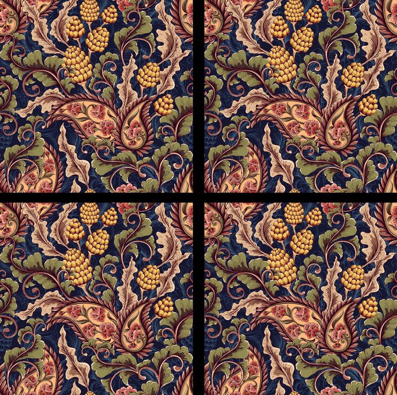 TENSTICKERS. リアルなペイズリーイラストタイル転送デカール. カラフルなペイズリー柄で作られた私たちのオリジナルの花のウィンドウデカールであなたのウィンドウスペースを素晴らしいグラムで飾ってください。適用は簡単です。