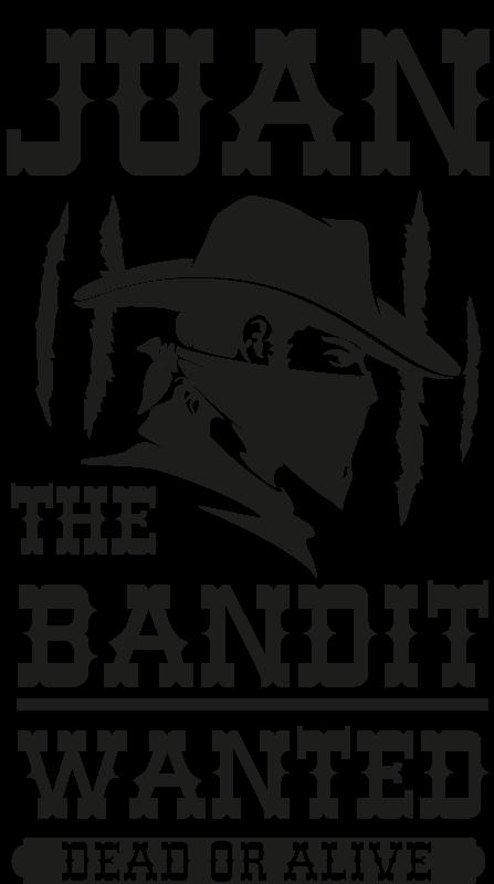 TenStickers. Vinil para porta Bandido com nome. Personalize o espaço da porta do quarto de seu filho no nosso autocolante de porta de cowboy personalizado criado com o produtode um bandido. é feito de alta qualidade.
