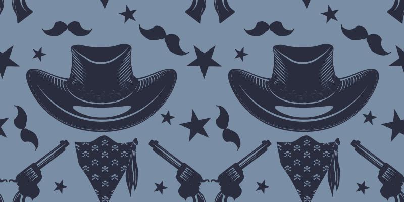 TenVinilo. vinilo mueble patrón cowboy azul. Hermoso papel adhesivo para muebles azul con patrón de elementos cowboy como sombrero y revólveres ¡Envío a domicilio!