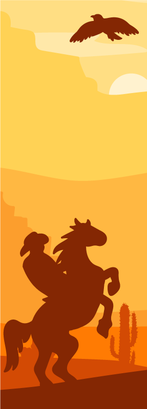 TenVinilo. Vinilo puerta paisaje cowboy con vaquero. Embellece tu puerta en este increíble vinilo puerta de paisaje con el diseño del atardecer con un vaquero a caballo ¡Fácil de colocar!