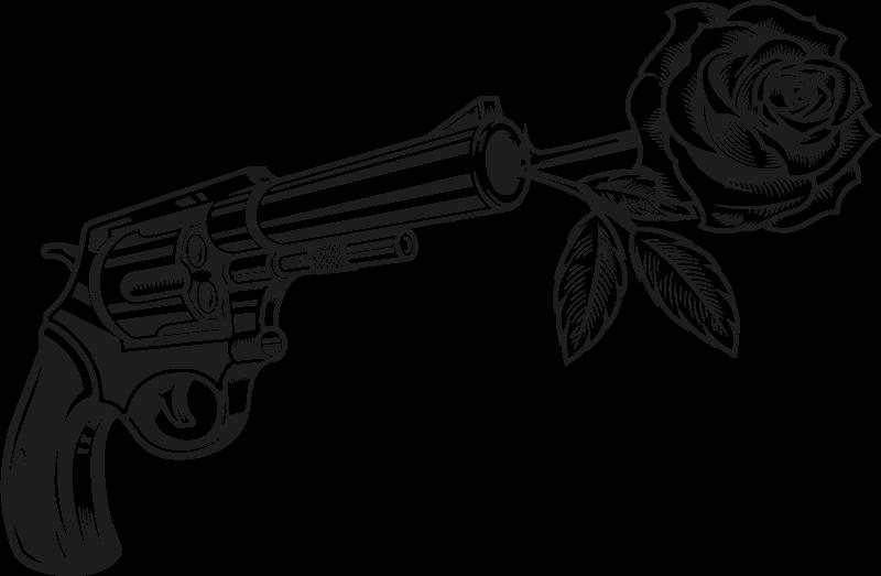 TENSTICKERS. カウボーイリボルバーとバラの壁のデカール. バラの射撃愛であなたのスペースを飾るための装飾的なカウボーイの家のステッカー。製品は高品質のビニールで作られています。
