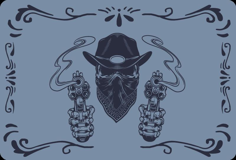 TenVinilo. Vinilo para portátiles cráneo vaquero y revólver. Un magnífico vinilo para portátiles de vaquero diseñado con bandido disparando con dos revólveres ¡Envío a domicilio!