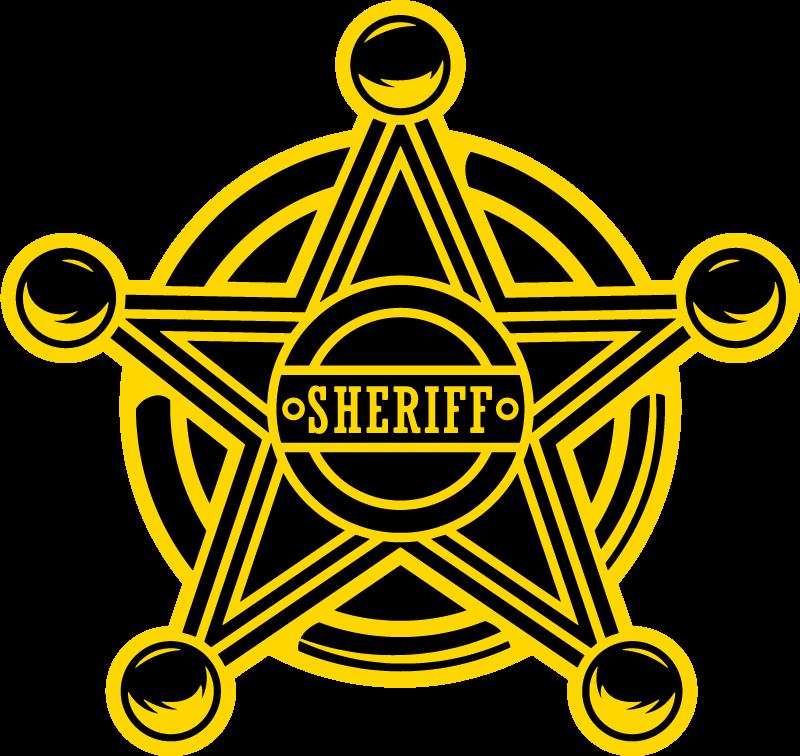 TenVinilo. Pegatina para portátiles estrella vaquera dorada. Pegatina para portátiles con el emblema de la estrella inscrita con el nombre '' sheriff '' sobre un fondo circular ¡Envío a domicilio!