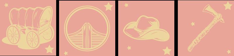 TenStickers. Stickers tegels Cowboy wagen. Prachtige cowboy wagen tegel muursticker gemaakt met het ontwerp van een cowboywagen. Het product is gek van goede kwaliteit en het is zelfklevend.