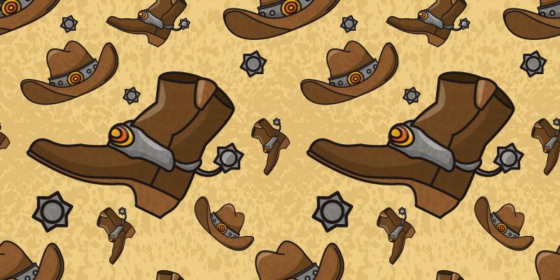 TENSTICKERS. 帽子とブーツのパターンの家具デカール. カウボーイのブーツと帽子でホストされている私たちの素晴らしいカウボーイ特集家具ステッカーであなたの家具スペースをカバーしてください。高品質のビニールで作られています。
