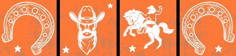 TenStickers. Stickers tegels Hoefijzer. Een geweldige verschillende cowboy tegel muursticker om elke muur in huis te versieren. Een ontwerp met elementen die de identiteit van cowboy weergeven.