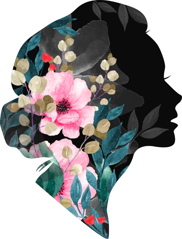 TENSTICKERS. 想像力アートビニール壁. 色とりどりの花が美しいフェミニンなシルエットのウォールアートデカールで、空間を美しく仕上げます。どのサイズでもご利用いただけます。