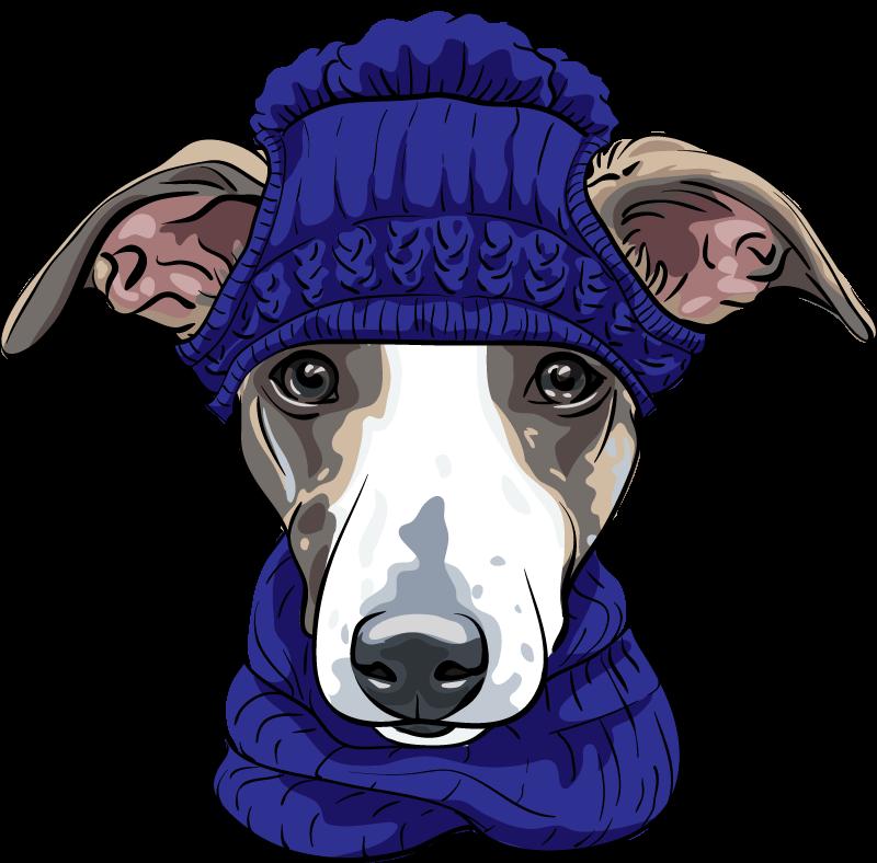 TenVinilo. Vinilo animales imagen perro gorro invierno. Vinilo de perro para pared con gorro y ropa de invierno para colocar en la habitación de tus hijos si adoran los animales ¡Compra online!