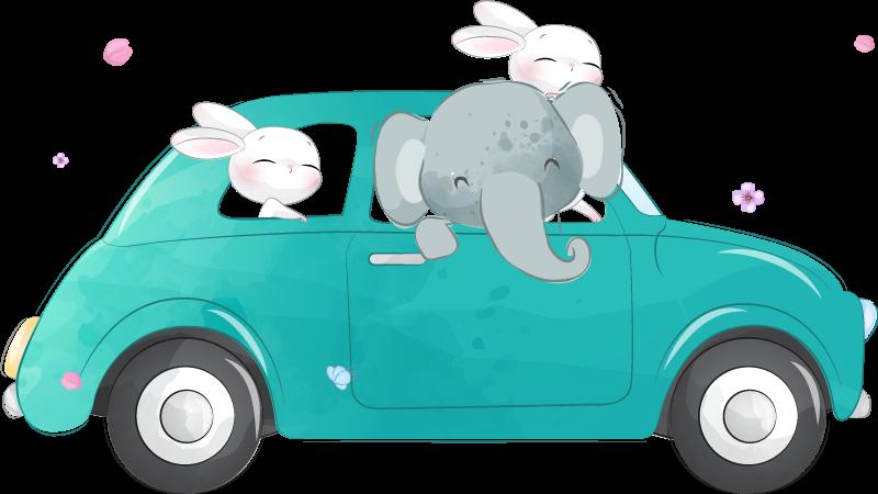 TENSTICKERS. 車の車のデカールでかわいいウサギ. 象とウサギが付いている車の美しい壁アート装飾。子供の寝室を飾る素晴らしいデザイン。簡単に適用できます。