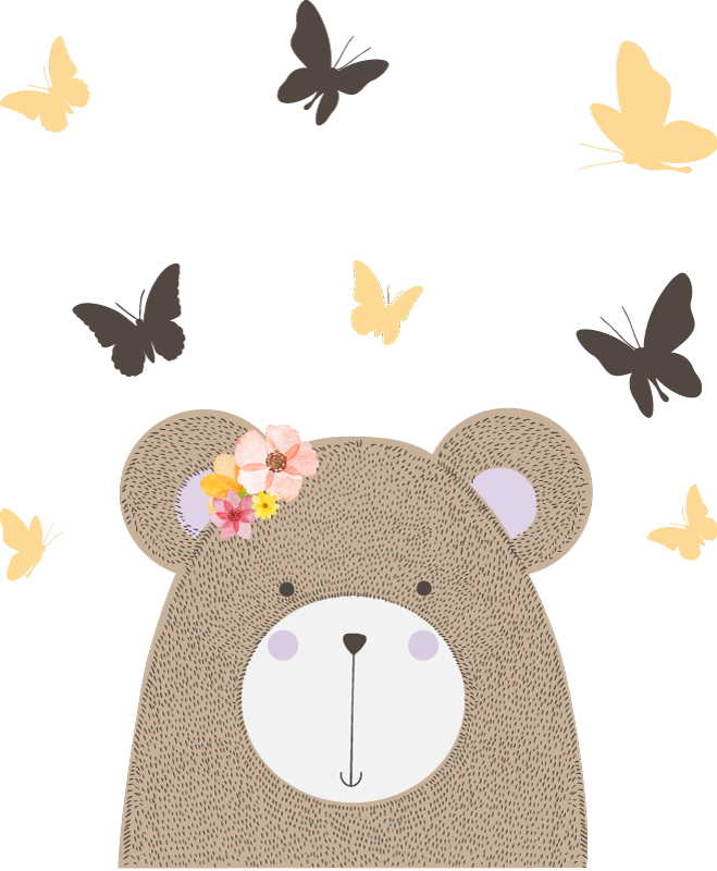 TENSTICKERS. 子供のための野生のアフリカのクマの女の子の動物の壁のデカール. 子供の寝室のスペースを飾る美しい動物の壁のステッカー、デザインはかわいい蝶とクマです。適用は簡単です。