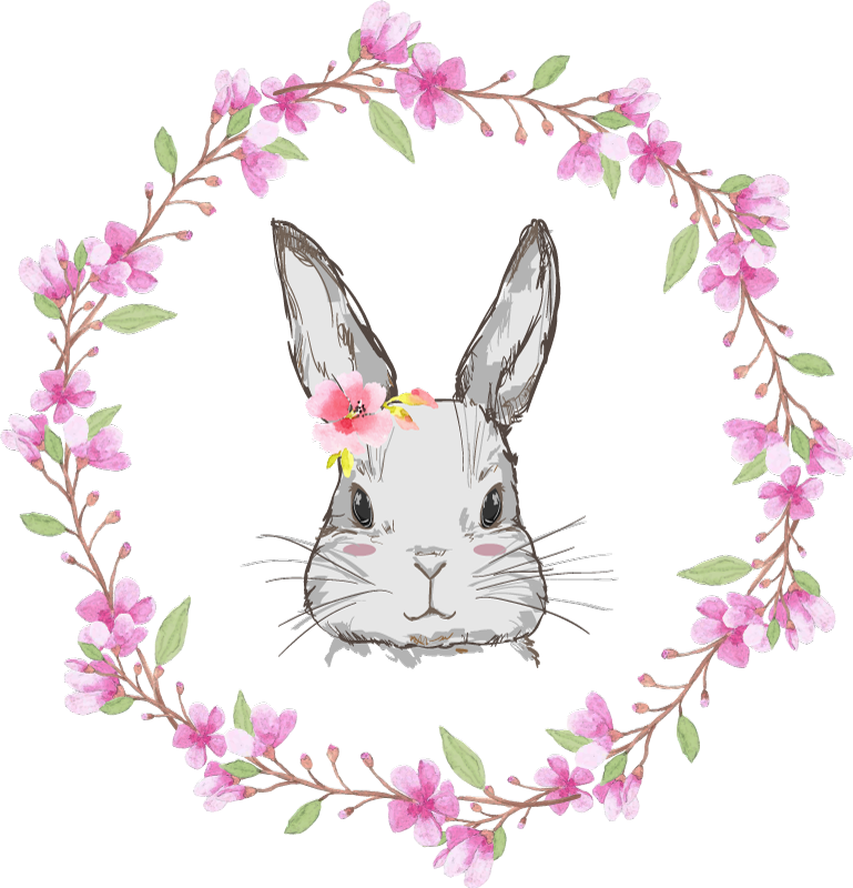 TenStickers. Wildes Afrika für kinder Hasenmädchen Bauernhoftier Wandtattoo. Schöne hase Tier Wandtattoo, um das Schlafzimmer Ihres Kindes zu dekorieren. Eine hübsche Dekoration mit bunten Blumen, um ein Mädchen Schlafzimmer zu beleuchten.