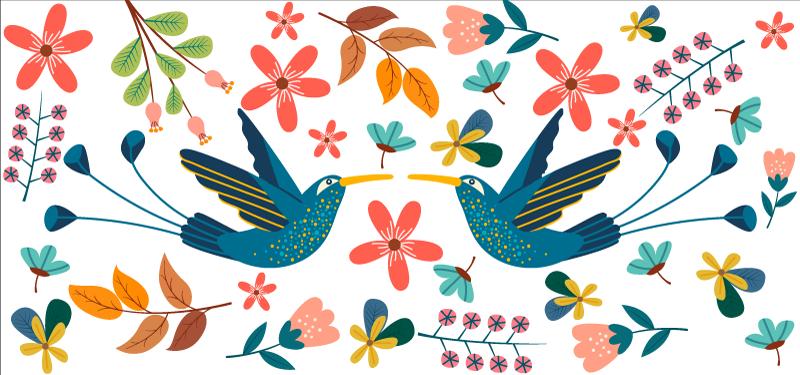 TENSTICKERS. カラフルなテナンゴの植物と鳥のステッカー. オリジナルの装飾用フラワーデカールで家具スペースを飾ります。デザインはテナンゴスタイルで作られ、簡単に適用できます。