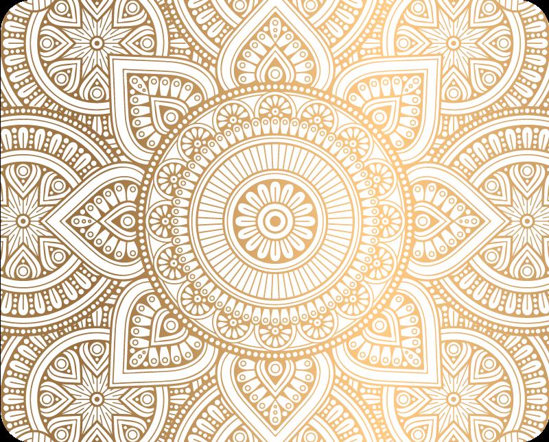 TenStickers. Notebook Aufkleber Goldenes Laptop-Mandala. Verschönern Sie Ihren laptop mit unserem erstaunlichen dekorativen mandala-hautaufkleber in weißer und goldener farbe. Es ist einfach, hochwertiges vinyl aufzutragen.