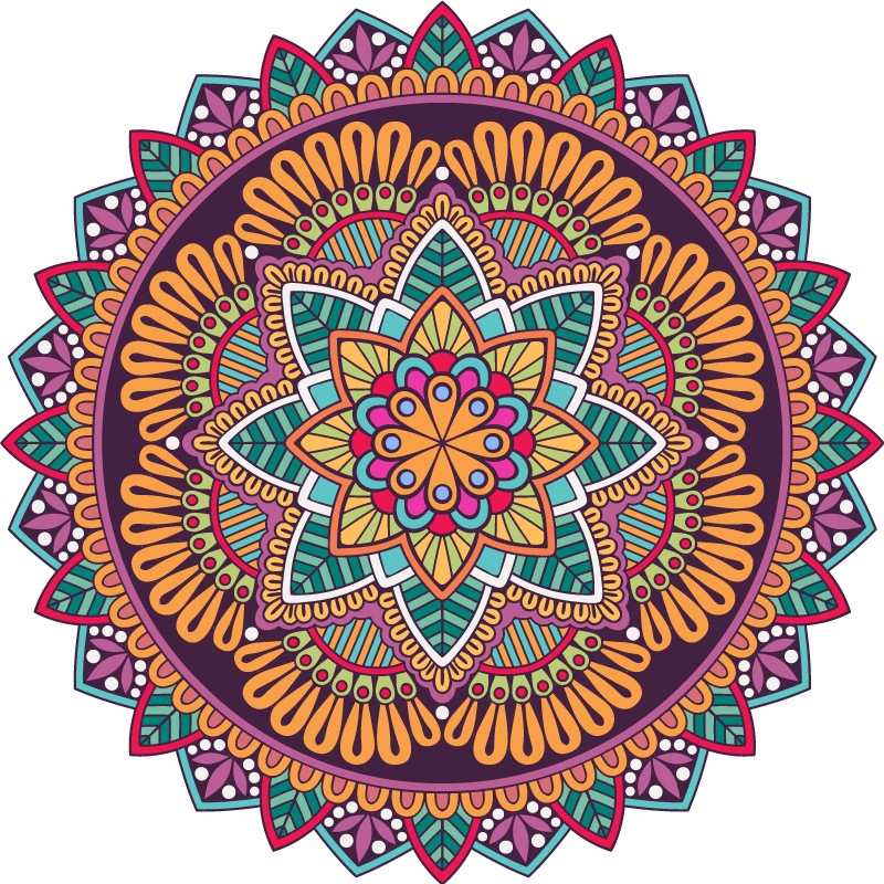 TenStickers. Mandala full of colors Abstract decal. Colorful decorative mandala wall sticker to decorate a living room or bedroom space in a house. It is made of high quality vinyl and easy to apply.