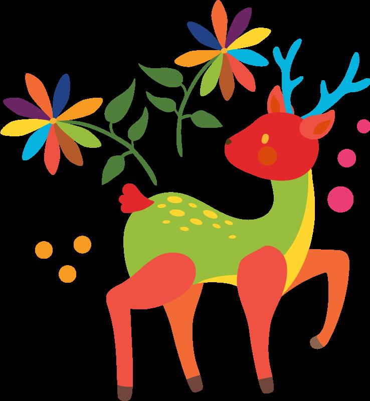 TENSTICKERS. テナンゴ鹿野生動物ステッカー. 子供の寝室の装飾のための素晴らしい鹿の動物の壁のステッカー。テナンゴ風の装飾用の花がデザインの特徴です。