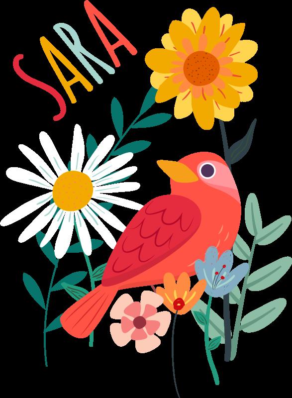 TENSTICKERS. テナンゴの花と鳥の名前の鳥ウォールステッカー. 税関は、テナンゴスタイルで動物のビニールデカールに名前を付けて、子供の寝室をきれいに飾ります。製品は、必要なサイズで利用できます。