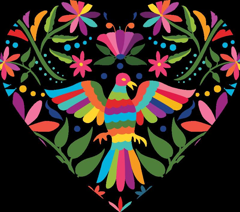 TenVinilo. Vinilo de amor flores y pájaros estilo tenango . Un hermoso vinilo de amor en forma de corazón con pájaros en estilo tenango. Es fácil de aplicar y autoadhesivo ¡Decora a tu gusto!