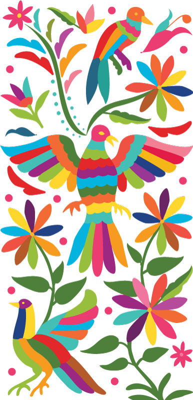 TENSTICKERS. テナンゴ動物スタイルの鳥ステッカー. 動物の壁のステッカーデザインは、孔雀、ダチョウ、テナンゴスタイルの装飾用花などのさまざまな動物を使用しています。