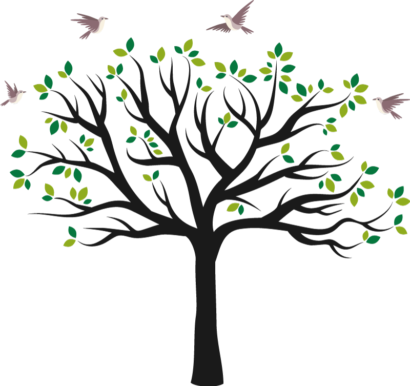 TenStickers. Fugle, der flyver over grønt træ murmærke. Selvklæbende træ væg kunst klistermærke design af et stort træ med grene og fugle der flyver over det hele. Det er let at påføre og af høj kvalitet vinyl.