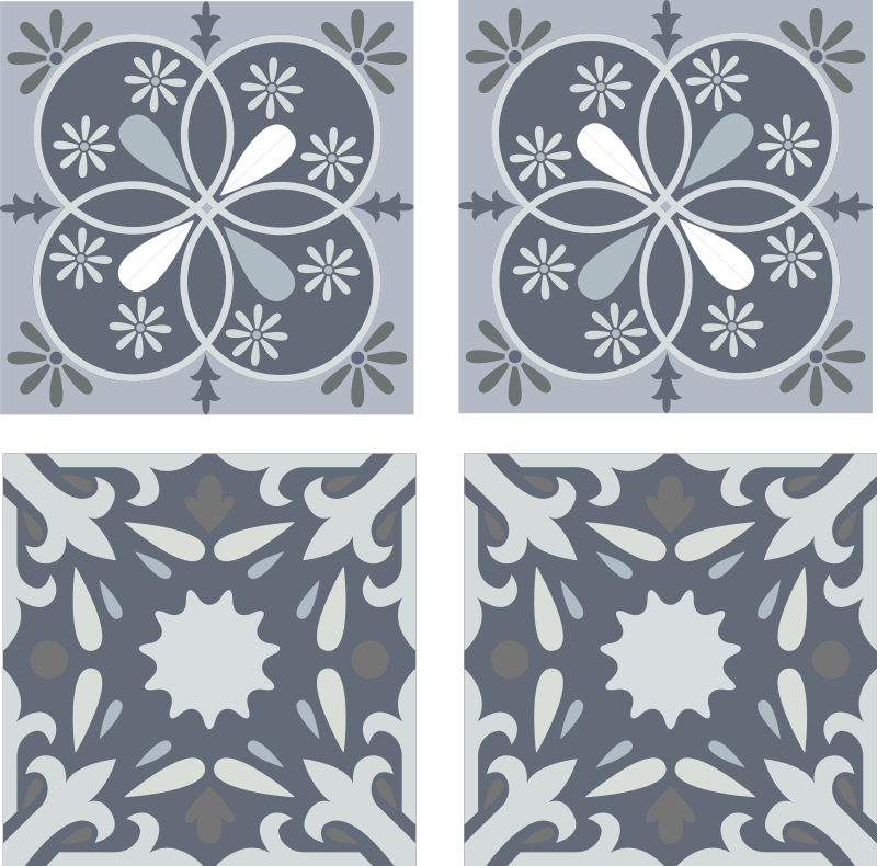 TenStickers. Blue original flower tile transfer decal. Decorative ornamental blue flower tile sticker for bathroom and kitchen decoration. It is easy to apply and made from high quality vinyl.
