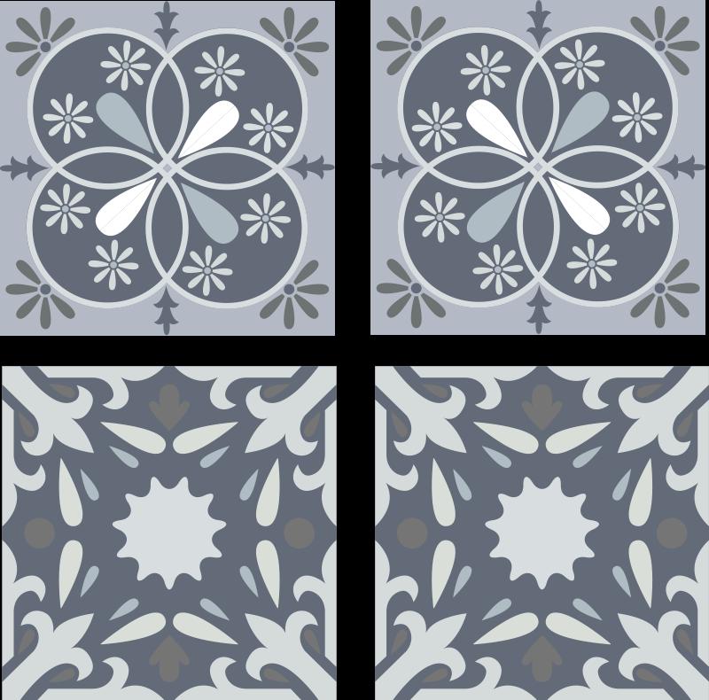 TENSTICKERS. 青いオリジナル花タイル転写デカール. 浴室および台所装飾のための装飾的な装飾用の青い花のタイルのステッカー。適用が簡単で、高品質のビニールで作られています。