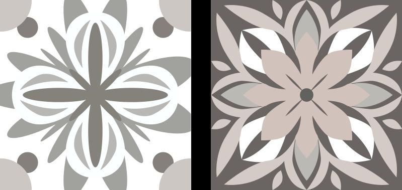 TENSTICKERS. 獲物と白の花模様のタイル転送. 模様の装飾用の花の装飾的なタイル壁ステッカーデザイン。アプリケーションは簡単で、自己接着性があり、最高品質のビニール製です。