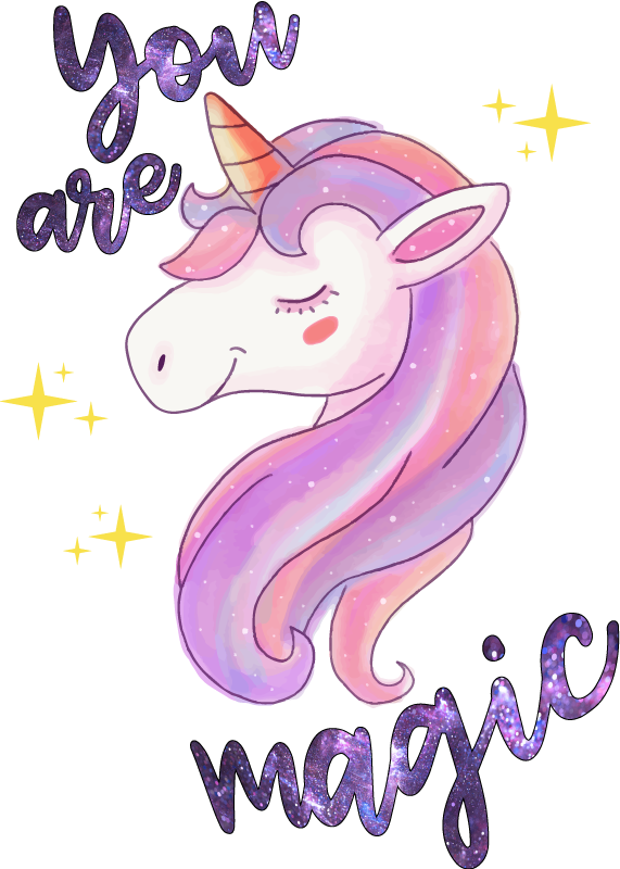 TenStickers. You are magic unicorn text fairy tale wall decal. Pop the bedroom of your young one with the touch of our fairy design. A fairy tale unicorn sticker inscribed with 'You are magic'' in space texture.