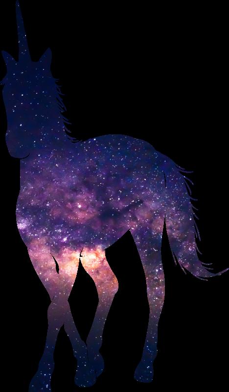 TenStickers. Sticker Silhouette de licorne et espace. Un sticker mural conçu avec la silhouette d'une licorne dans l'apparence de l'espace. Cette décoration murale convient pour la décoration d'une chambre d'enfants.