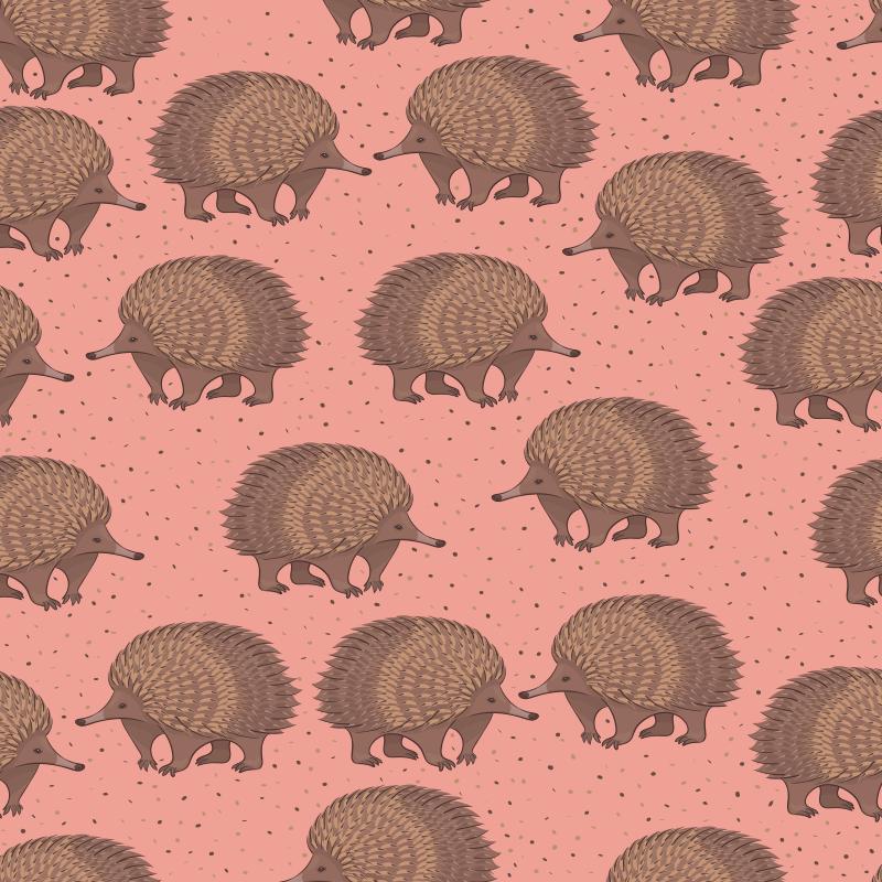 TenStickers. Sticker pour meuble Porc-épic et points. Changez l'apparence de vos meubles avec ce sticker décoratif porc-épic. Un design créé sur fond coloré avec différentes impressions de porcs-épic de couleur brune.