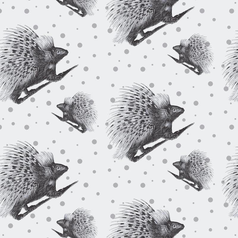 TenStickers. Sticker pour meuble Porc-épic noir et blanc. Un sticker meuble porc-épic. Ce sticker décoratif est conçu en noir et blanc avec divers porc-épic. Il est facile à appliquer et auto-adhésif.