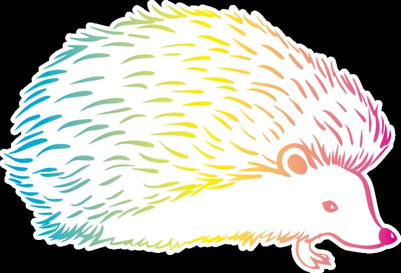TenVinilo. Vinilo para niños puercoespín tricolor. Precioso y colorido vinilo para niños de puercoespín tricolor en azul, amarillo y rojo en un estilo original. Elige medidas ¡Envío a domicilio!