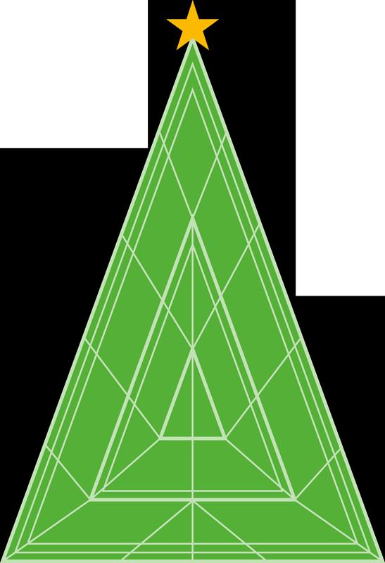 TENSTICKERS. クリスマスツリーの幾何学的なクリスマス壁デカール. 家の装飾のための装飾用のクリスマスツリーデカール。デザインは幾何学的な三角形のパターンで緑色で作られています。