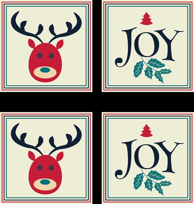 TENSTICKERS. 喜びとトナカイのタイル転送デカール. トナカイ、装飾用の花、「喜び」と書かれた碑文など、さまざまな機能で作成された装飾的なクリスマスの壁タイルステッカー。