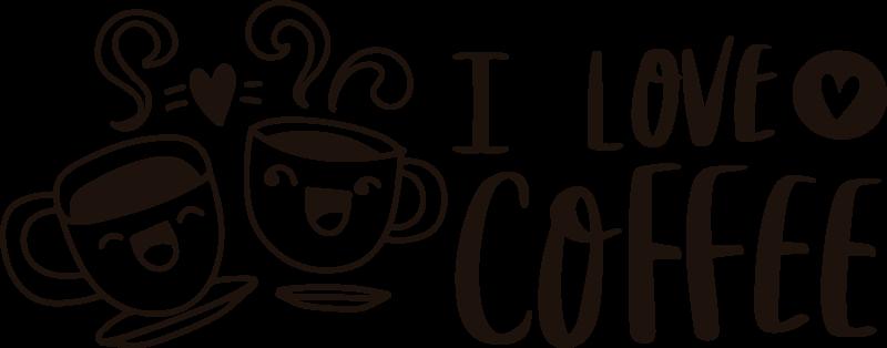 TENSTICKERS. コーヒードリンクウォールステッカーが大好き. 「コーヒーが大好き」ドリンクテキストウォールステッカーデザイン。このデザインは、バー、レストラン、ホームスペースにおすすめです。貼り付けが簡単で、自己粘着性があります。