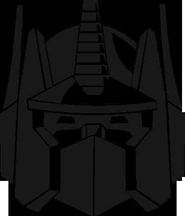 """TenStickers. Sticker hoofd Optimus Prime. Een leuke muursticker met hierop het hoofd van één van de autobots uit de film """"The transformers"""". Snelle klantenservice."""