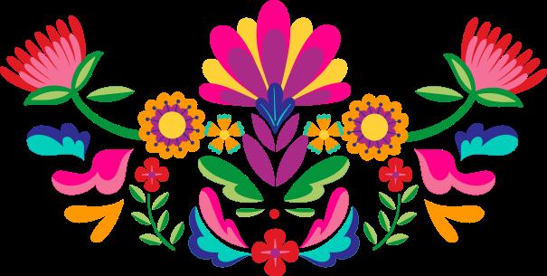 TENSTICKERS. メキシコの花のヘッドボードの壁のステッカー. メキシコの花のヘッドボードステッカー。どんなスペースにもカラフルな花柄のエンハンスメントが施されており、かわいくてあなたのスペースにカラフルなタッチを加えます。