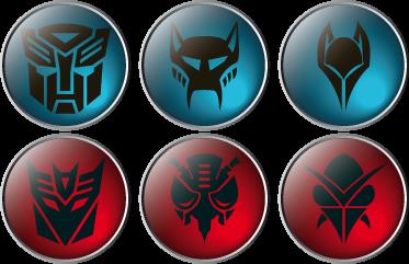 TenVinilo. Vinilo decorativos sellos transformers. Colección de seis pegatinas con diferentes iconografías de Decepticons y Autobots. En colores azul y rojo. !Si eres fan de la película y los cómics hazte con estos vinilos!