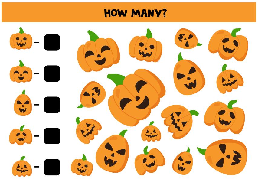 TENSTICKERS. 数学演算ハロウィンウォールステッカー. 子供のための教育的なハロウィーンのステッカー。数学のイラストが正方形の背景にオレンジ色のカボチャがたくさん含まれています。